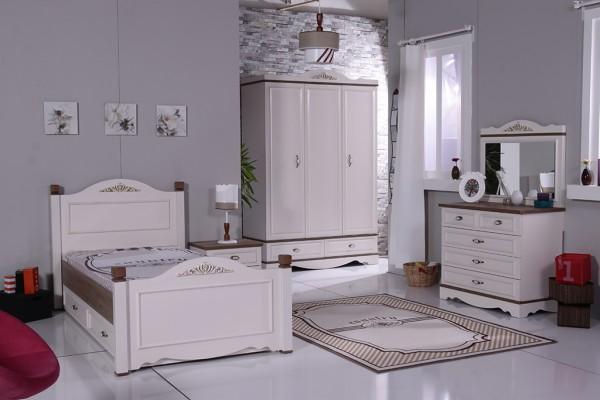 Mädchenzimmer Sparset 8 tlg. COUNTRY altweiss + Standardbett 90x200