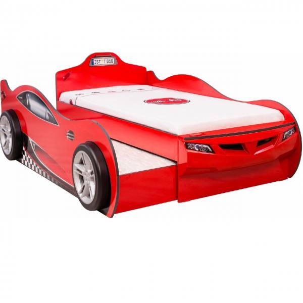 Autobett COUPE DOUBLE rot mit Bettschubkasten