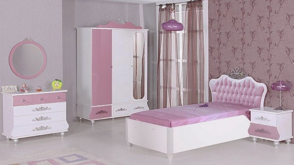 SPAR-SET20 Kinderzimmer ANASTASIA rosa mit Stauraumbett, 5-teilig