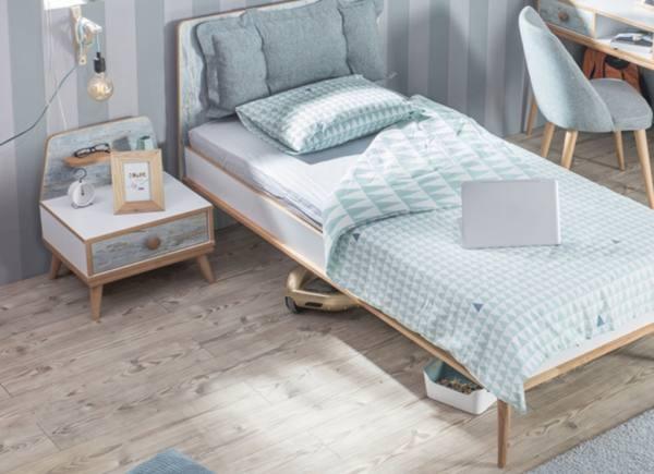 SPAR-SET Kinderbett 90x200cm AQUASI mit Nachtkonsole, 2-teilig