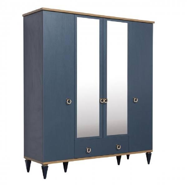 Kleiderschrank MOSS blau 4 türig mit 2 Spiegel