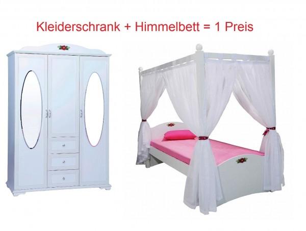 Kinderzimmer Set CINDY mit Himmelbett und Kleiderschrank 3 türig, 2 teilig