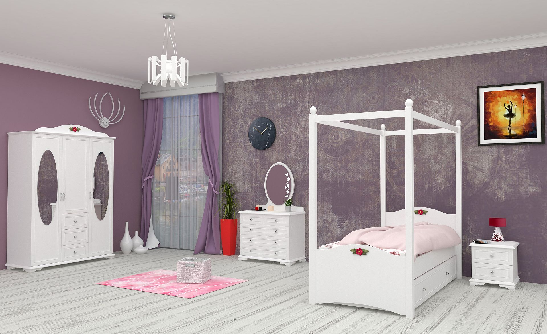 komplett kinderzimmer cindy 3 weiss sparset 5 tlg traum m. Black Bedroom Furniture Sets. Home Design Ideas