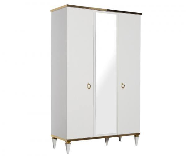 Luxus Kleiderschrank Rixos 3-türig gold/weiß