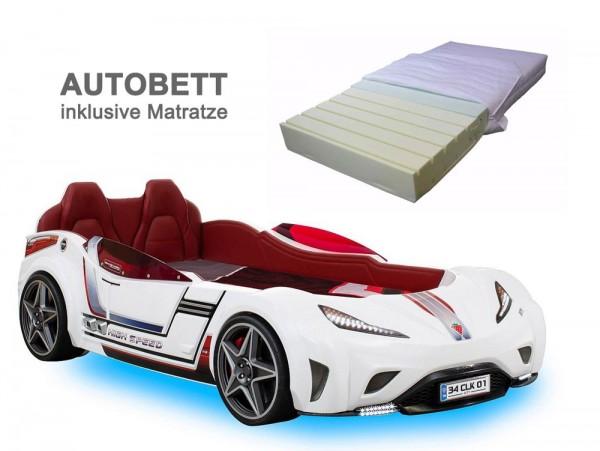 Cilek GTS SPORT Autobett weiß mit Matratze aus Kaltschaum