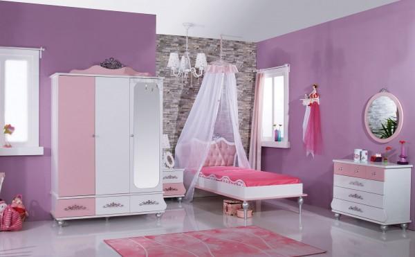 Mädchenzimmer Komplettset 8 tlg. ANASTASIA rosa + Standardbett