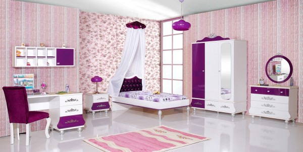Mädchenzimmer Sparset 8 tlg. ANASTASIA lila + Standardbett