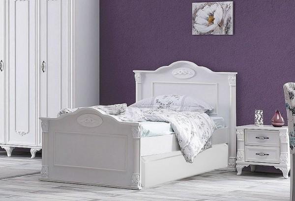 SPAR-SET7 Kinderbett ROMANTIK mit Bettschubkasten + Nachtkonsole, 90x200cm