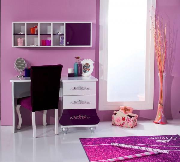 SPAR-SET8 Kinderzimmer Romantik weiß, 5-teiligSPAR-SET9 Kinderzimmer ANASTASIA lila mit Schreibtisch, Aufsatz, Stuhl, 3-teilig
