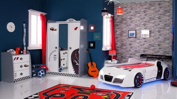 SPAR-SET Autobettzimmer TURBO V8 weiß, 4-teilig