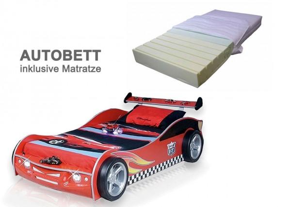 Autobett Turbo V4 in rot mit LED Licht und Schlüssel inklusive Matratze, SPARANGEBOT