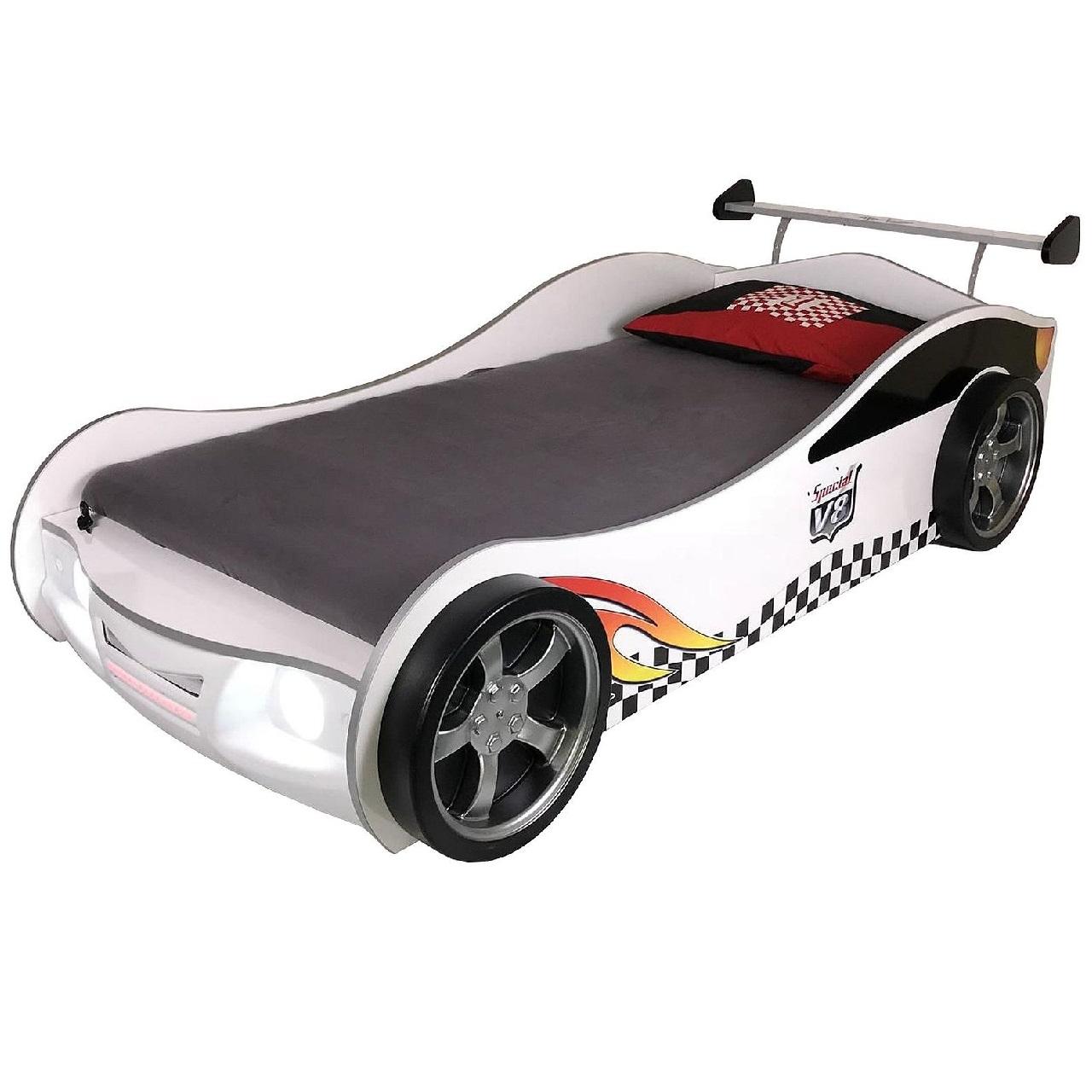 Autobett TURBO V4 weiß mit LED Licht und Rost