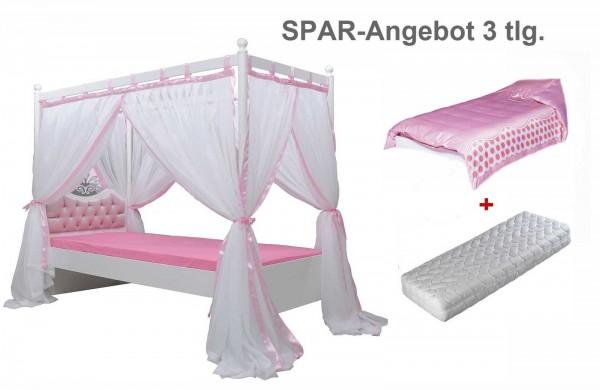 Anastasia rosa Himmelbett Sparset 3 teilig mit Matratze und Bezug rosa