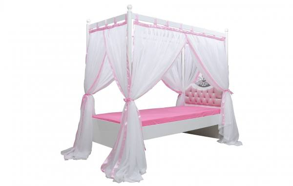 Himmelbett 90x200cm ANASTASIA rosa mit Vorhang & Rost
