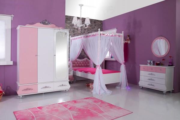 Mädchenzimmer Komplettset 8 tlg. ANASTASIA rosa mit Himmelbett