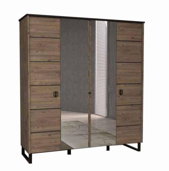 WOOD Kleiderschrank 4 türig mit Spiegel und Drehtüren