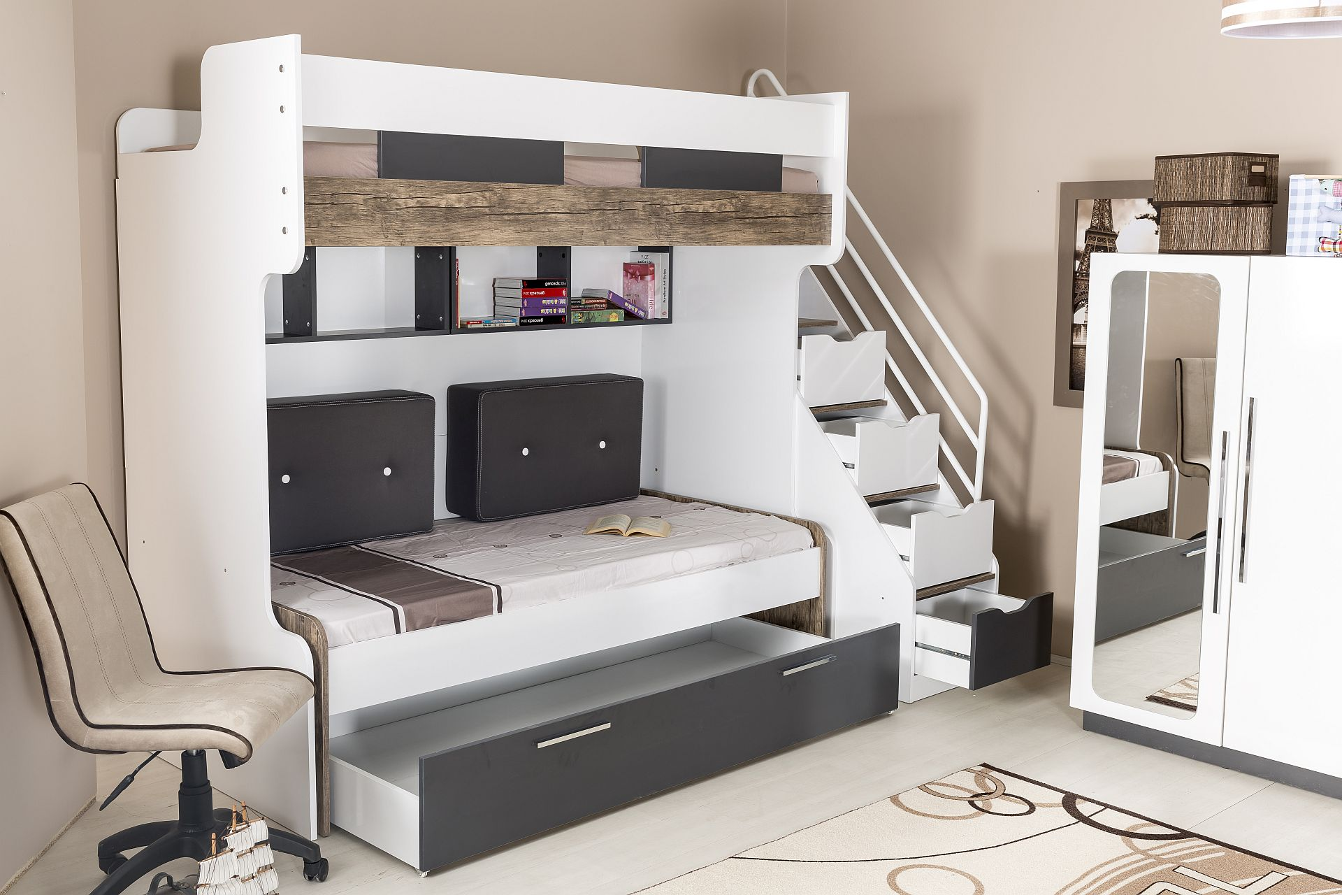 multifunktionshochbett compact 12 mit hochbett bettschubkasten kleiderschrank traum. Black Bedroom Furniture Sets. Home Design Ideas