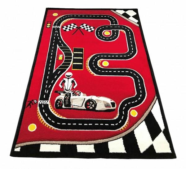 Kinder Spielteppich SPEED 3D rot mit Auto Racingmotiv