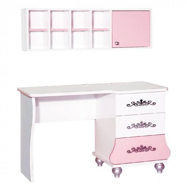 Schreibtisch ANASTASIA rosa mit Aufsatz
