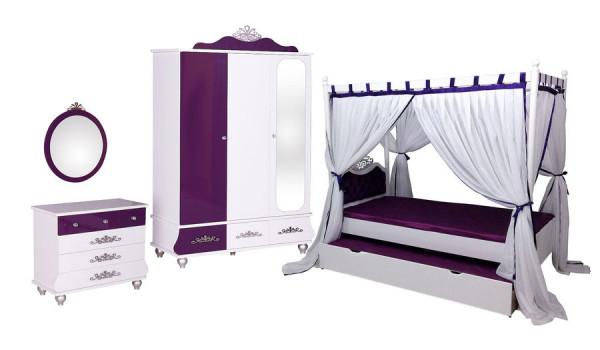 SET-Angebot ANASTASIA lila mit Himmelbett, Gästebett, Kleiderschrank, 3-teilig
