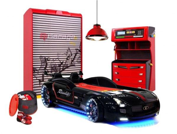 Komplett Autobettzimmer RACER ROT 5-teilig mit Roadster Sport Autobett, schwarz