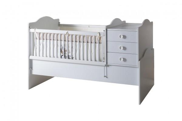 Convertible Babybett 3 tlg. BABYWHITE (80x180cm umbaubar) weiss