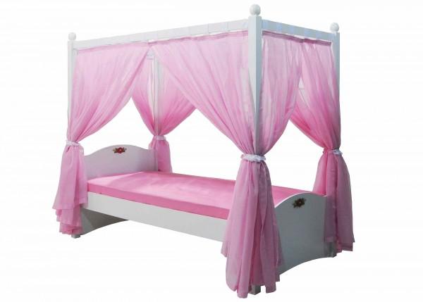 Himmelbett CINDY rosa mit Vorhang und Rost, 90x200cm