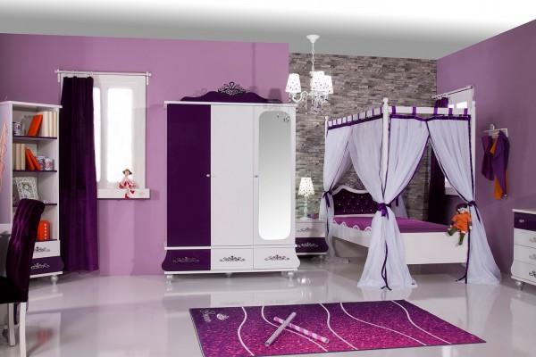 Mädchenzimmer Sparset 6 tlg. ANASTASIA lila mit Himmelbett