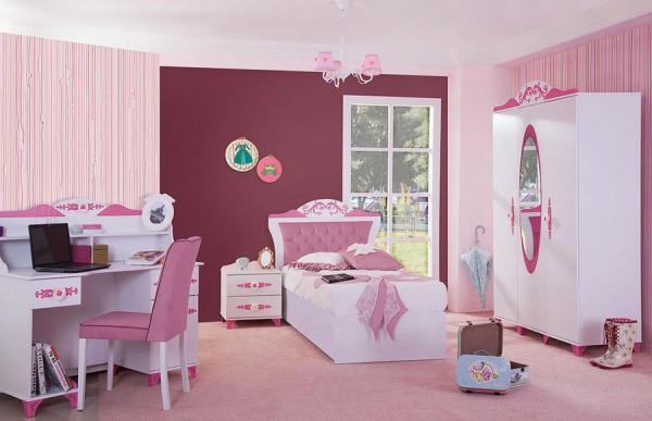 SPAR-SET Kinderzimmer 4-teilig PRETTY rosa mit Stauraumbett 90x200cm