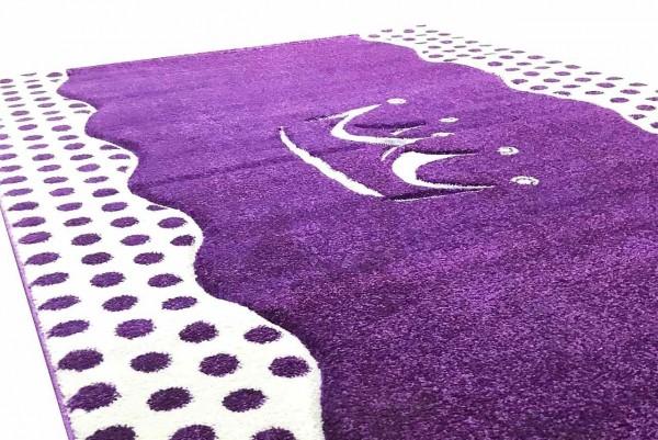 Kinderteppich ANASTASIA lila mit Krone, 120x180cm