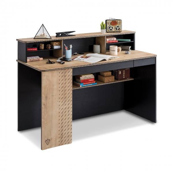 Schreibtisch BLACK mit Aufsatz, groß