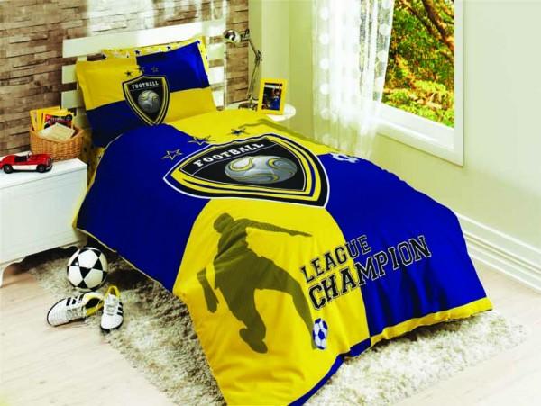 Bettwäsche 3 tlg. CHAMPION blau/gelb