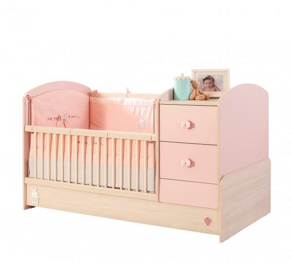 Mitwachsendes Convertible Babybett BABYGIRL classic in rosa
