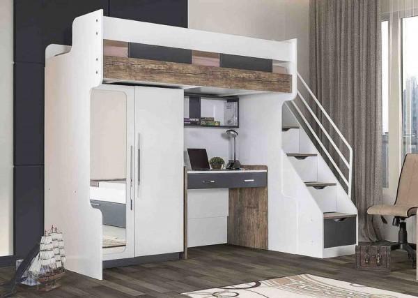 Multifunktion Hochbett COMPACT K5 mit Schreibtisch, Kleiderschrank