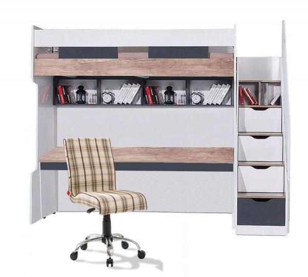 Hochbett 90x200 COMPACT K7 mit Schreibtisch, Schubladentreppe, 2 Regale