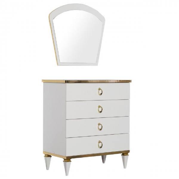 Luxus Wäschekommode Rixos mit Spiegel weiß, gold