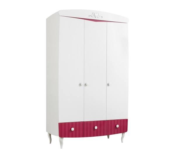 Kleiderschrank SWEETY 3-türig weiß, rot