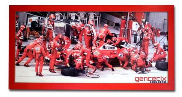 Wandbild groß TURBO BOXENSTOP 160x70cm rot