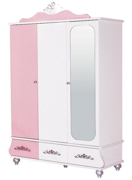 Kleiderschrank ANASTASIA rosa mit Spiegel, 3-türig