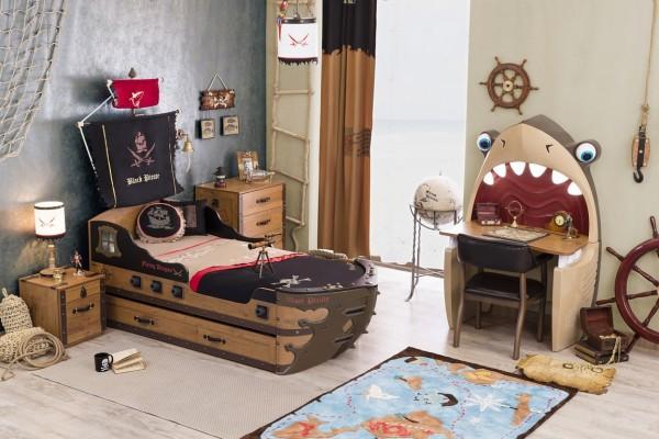 Komplett Kinderzimmer PIRAT mit Schiffsbett und Schreibtisch