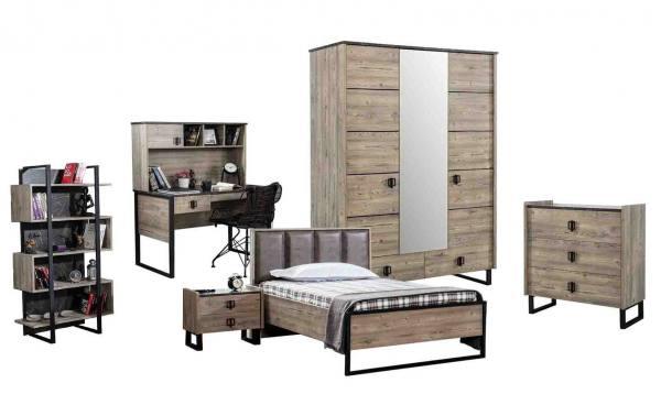 Komplett 6-teiliges Jugendzimmer WOOD mit Kleiderschrank, Bett, Tisch, Kommode, Nako, Regal