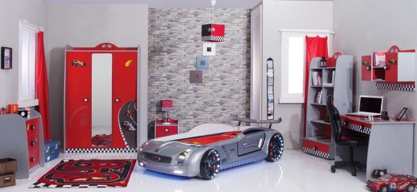 Kinderzimmer Set 5-tlg. TURBO mit Autobett ROADSTER