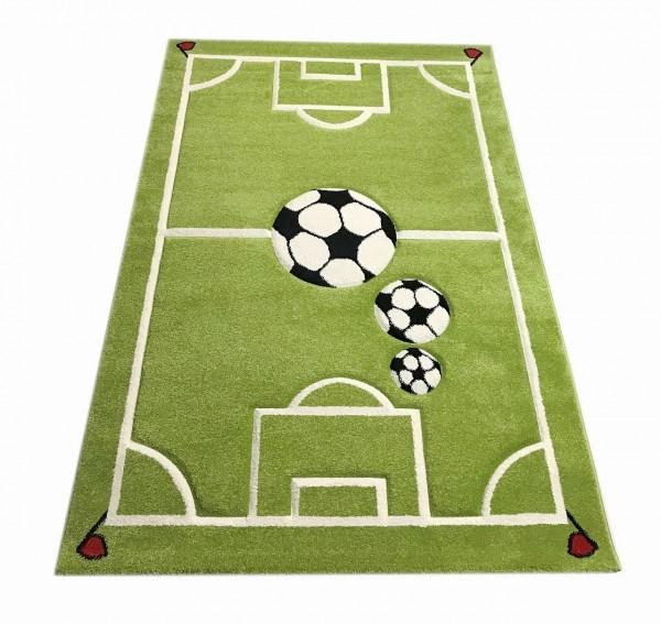 Kinderteppich FUßBALL 3D grün mit Fußballmotiv