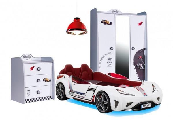 Autobettzimmer weiß TURBO 3-teilig mit CILEK GTS Autobett, Schrank und Kommode