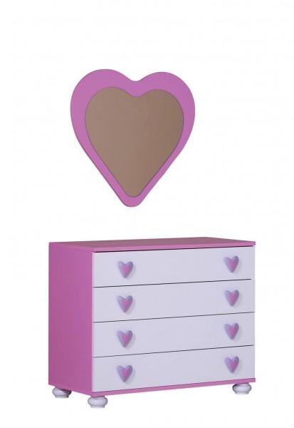 Herzchenspiegel Daisy pink/weiß für Mädchen